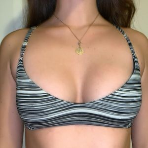 Frankie's Bikinis black and white stripped top